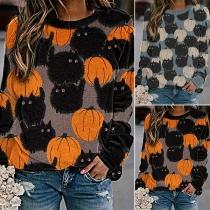 Modernes Sweatshirt mit Kürbismuster Rundhalsausschnitt und Langen Ärmeln