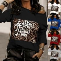 Modernes Sweatshirt mit Leopardenmuster Schräger Schulter und Langen Ärmeln