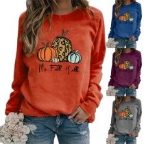 Einfaches Sweatshirt mit Kürbismotiv Rundhalsausschnitt und Langen Ärmeln