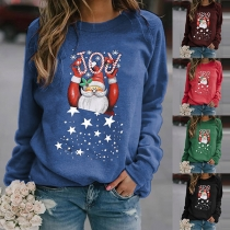 Niedliches Sweatshirt mit Weihnachtsmotiv Rundhalsausschnitt und Langen Ärmeln
