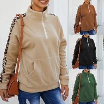 Modernes Sweatshirt mit Langen Ärmeln mit Leopardenmuster und Stehkragen