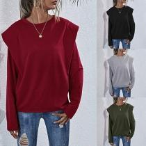 Modernes Sweatshirt mit Volltonfarbe Langen Ärmeln Rundhalsausschnitt und Schulterpolster