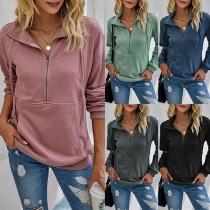 Einfaches Sweatshirt mit Langen Ärmeln Stehkragen und Volltonfarbe