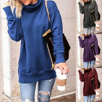 Modernes Sweatshirt mit Volltonfarbe Langen Ärmeln und Weitem Rollkragen