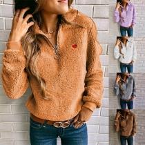 Modernes Sweatshirt aus Plüsch mit Volltonfarbe Langen Ärmeln und Stehkragen