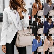 Stilvoller Blazer mit Langen Ärmeln Zweireihigem Design  und Volltonfarbe