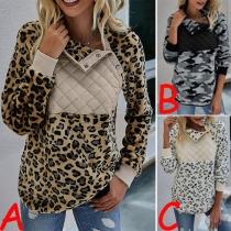 Modisches Sweatshirt mit Langen Ärmeln Stehkragen mit Leopardenmuster