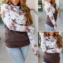 Modisches Sweatshirt mit Langen Ärmeln Weitem Rollkragen und Schickem Muster