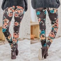 Modische Dehnbare Leggings mit Hoher Taille und Blumenmuster