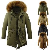 Moderne Gefütterte Jacke für Herren mit Kapuze mit Kunstpelz und Plüschfutter