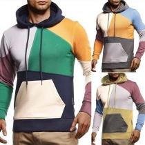 Modischer Kapuzenpullover für Herren mit Kontrastierenden Farben und Langen Ärmeln