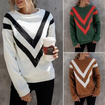 Modernes Sweatshirt mit Streifen Langen Ärmeln und Rundhalsausschnitt