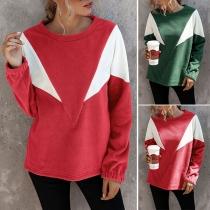 Modernes Sweatshirt mit Kontrastierenden Farben Langen Ärmeln und Rundhalsausschnitt