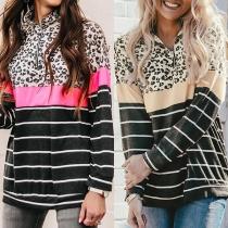 Modernes Sweatshirt mit Streifen Leopardenmuster Langen Ärmeln nd Stehkragen