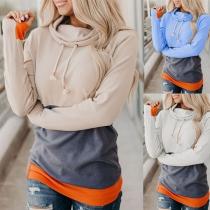 Modernes Sweatshirt mit Kontrastierenden Farben Langen Ärmeln und Weitem Rollkragen