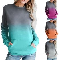 Modernes Sweatshirt mit Farbverlauf Langen Ärmeln und Rundhalsausschnitt