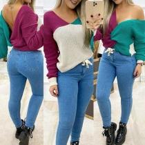 Sexy Pullover mit Freiem Rücken mit Verdrehtem Design Langen Ärmeln und Kontrastierenden Farben