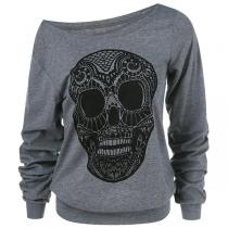 Modernes Sweatshirt mit Schräger Schulter Langen Ärmeln und Totenkopfmotiv
