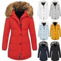 Moderne Gefütterte Jacke in Volltonfarbe mit Langen Ärmeln und Kapuze mit Kunstpelz