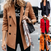 Moderner Blazer mit Volltonfarbe Langen Ärmeln und Zweireihigem Design