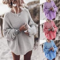 Modischer Pullover Volltonfarbe Langen Ärmeln und Rundhalsausschnitt