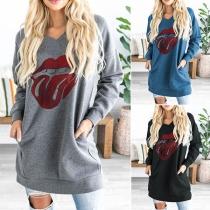 Lässiges Sweatshirt mit Langen Ärmeln Rundhalsausschnitt und Lässigem Stil
