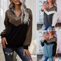 Modernes Sweatshirt mit Leopardenmuster Langen Ärmeln und Stehkragen