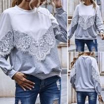 Modernes Sweatshirt in Kontrastierenden Farben mit Langen Ärmeln Rundhalsausschnitt und Spitzendesign