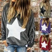Lässiges Sweatshirt mit Sternmotiv Langen Ärmeln und Lockerer Passform