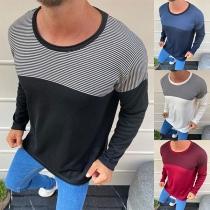 Modisches Gestreiftes Sweatshirt mit langen Ärmeln und Rundhalsausschnitt