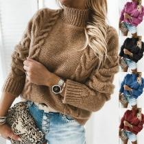 Moderner Pullover mit Volltonfarbe Langen Ärmeln und Stehkragen