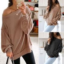 Einfaches Sweatshirt mit Langen Ärmeln Rundhalsausschnitt und Volltonfarbe