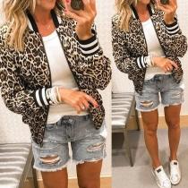 Modische Jacke mit Langen Ärmeln Stehkragen und Leopardenmuster