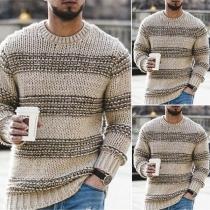 Modischer Pullover mit Langen Ärmeln Rundhalsausschnitt und Kontrastierenden Farben