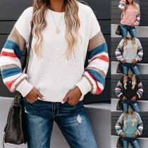 Moderner Pullover mit Kontrastierenden Farben Langen Ärmeln und Rundhalsausschnitt
