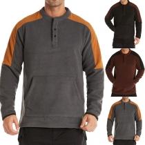 Modernes Sweatshirt für Herren mit Kontrastierenden Farben langen Ärmeln und Rundhalsausschnitt