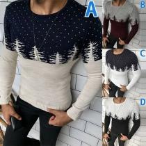 Pullover für Herren mit Kontrastierenden Farben Rundhalsausschnitt Weihnachtsbaummuster und Langen Ärmeln