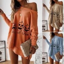 Modernes Sweatshirt mit Kürbis-Muster Langen Ärmeln und Rundhalsausschnitt