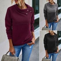 Modernes Sweatshirt mit Langen Ärmeln Volltonfarbe und Schrägem Kragen