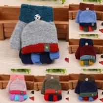 Moderne Strickhandschuhe für Kinder in Kontrastierenden Farben