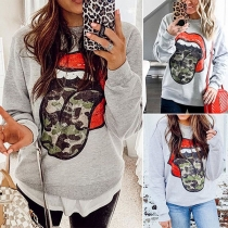 Chic Style Lip Printed Long Sleeve Round Neck Sweatshirt
