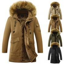 Moderne Gepolsterte Jacke für Herren mit Kapuze mit Kunstpelz Volltonfarbe und Plüschfutter