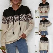 Fashion Contrast Color Leopard Spliced Long Sleeve Hooded Sweatshirt