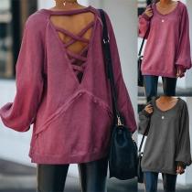 Lockeres Sweatshirt mit Freiem Rücken Volltonfarbe Rundhalsausschnitt und Langen Ärmeln