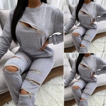 Sexy Set in Volltonfarbe mit Reißverschlüssen bestehend aus einem Sweatshirt mit Rundhalsausschnitt und Langen Ärmeln + Hose