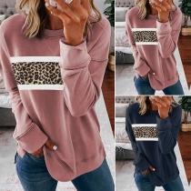 Modisches Sweatshirt mit Langen Ärmeln Rundhalsausschnitt und Leopardenmuster