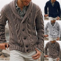 Moderne Strickjacke für Herren in Volltonfarbe mit Langen Ärmeln
