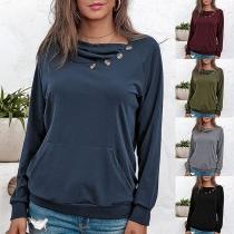 Modernes Sweatshirt mit Langen Ärmeln Volltonfarbe und Plissiertem Kragen