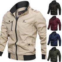 Moderne Jacke für Herren in Volltonfarbe mit Langen Ärmeln und Stehkragen