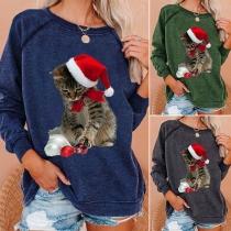 Niedliches Sweatshirt mit Langen Ärmeln Rundhalsausschnitt und Katzenmotiv
